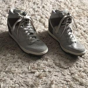 Gray NIKE wedge heel sneakers